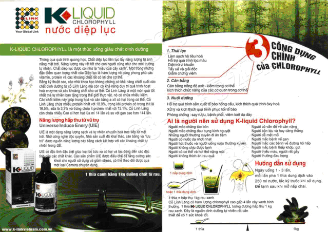 nuoc diep luc, nuoc diep luc K liquid Cholorophyll , nuoc diep luc K liquid