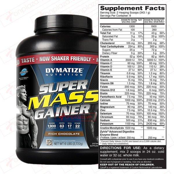 Sữa tăng cân Mass chứa hàm lượng calo và protein cao
